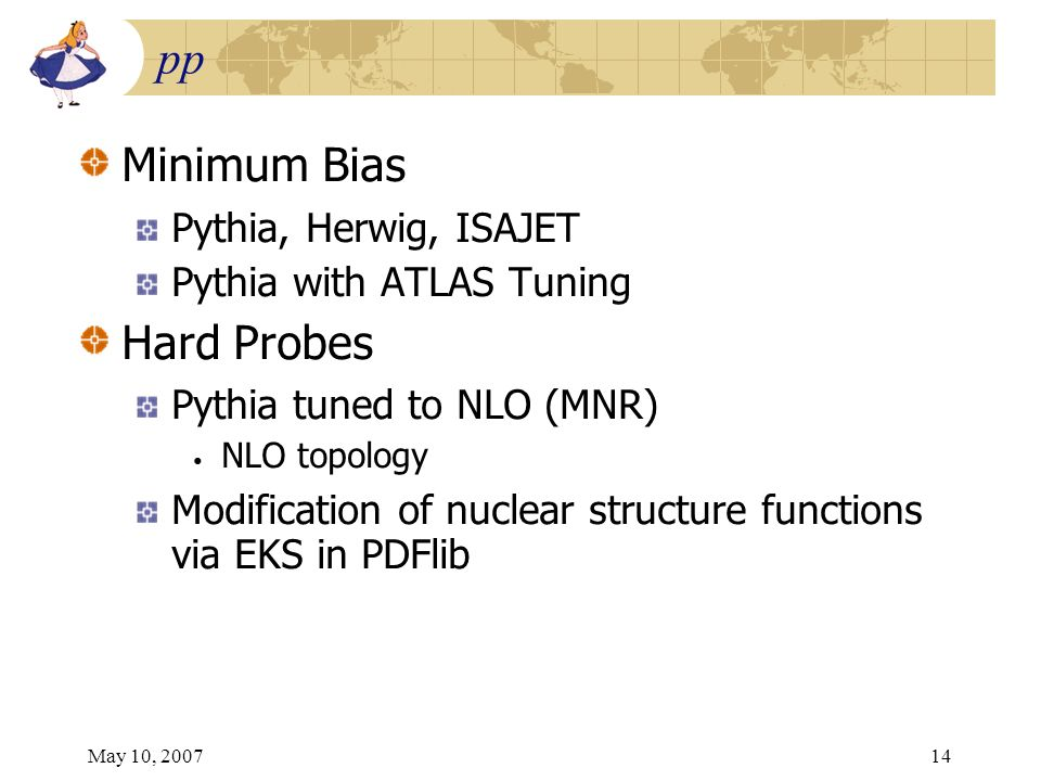 May 10, 200714 pp Minimum Bias Pythia, Herwig, ISAJET Pythia with ATLAS Tuning Hard Probes Pythia tuned to NLO (MNR) NLO topology Modification of nucl