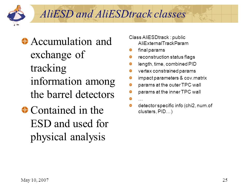 May 10, 200725 AliESD and AliESDtrack classes Accumulation and exchange of tracking information among the barrel detectors Contained in the ESD and us