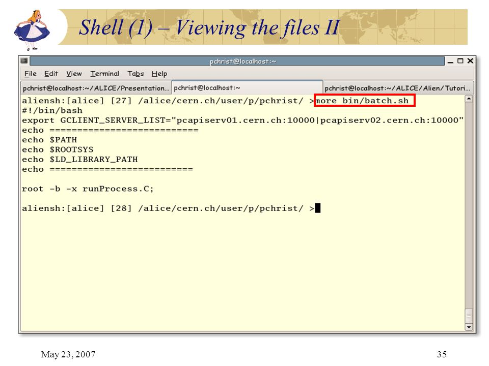 May 23, 200735 Shell (1) – Viewing the files II
