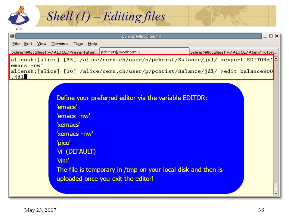 May 23, 200736 Define your preferred editor via the variable EDITOR: 'emacs' 'emacs -nw' 'xemacs' 'xemacs -nw' 'pico' 'vi' (DEFAULT) 'vim' The file is