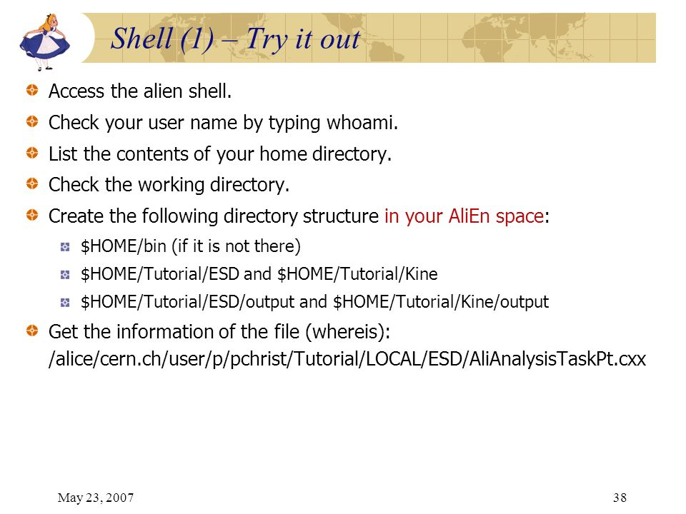 May 23, 200738 Access the alien shell. Check your user name by typing whoami. List the contents of your home directory. Check the working directory. C