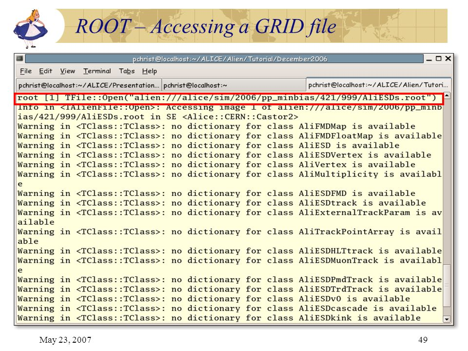 May 23, 200749 ROOT – Accessing a GRID file