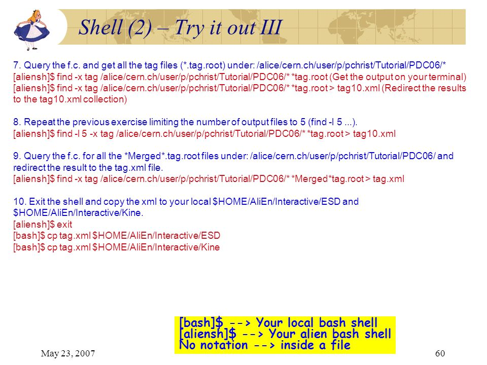 May 23, 200760 [bash]$ --> Your local bash shell [aliensh]$ --> Your alien bash shell No notation --> inside a file Shell (2) – Try it out III 7. Quer