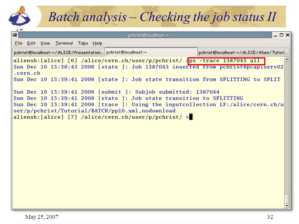 May 25, 200732 Batch analysis – Checking the job status II
