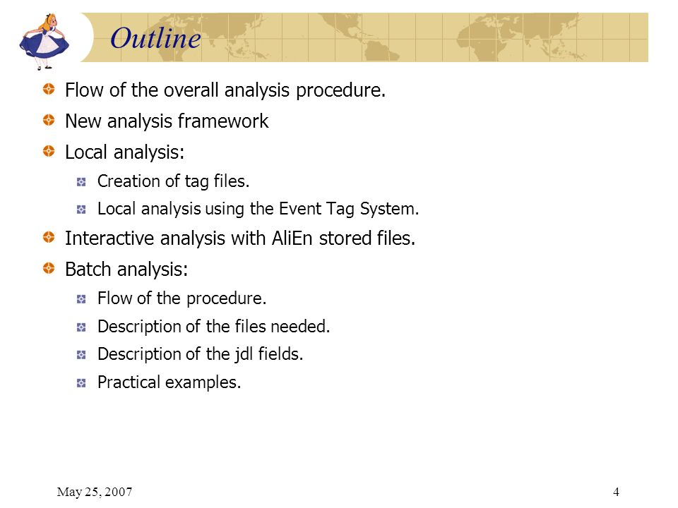 May 25, 20074 Flow of the overall analysis procedure. New analysis framework Local analysis: Creation of tag files. Local analysis using the Event Tag