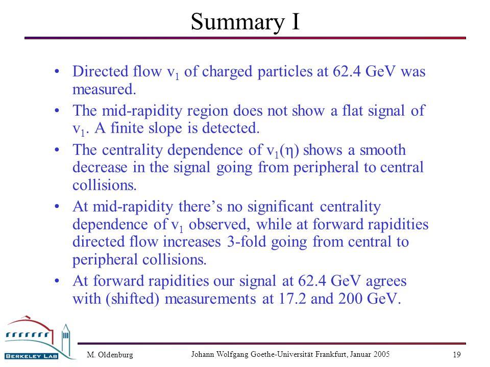 M. Oldenburg Johann Wolfgang Goethe-Universität Frankfurt, Januar 2005 19 Summary I Directed flow v 1 of charged particles at 62.4 GeV was measured. T
