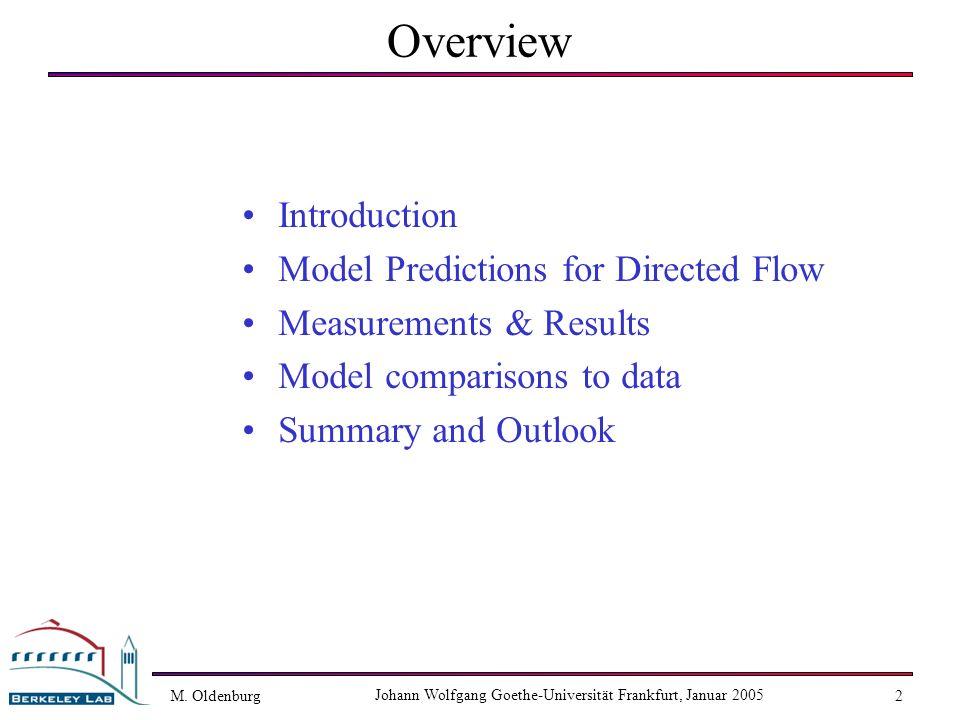 M. Oldenburg Johann Wolfgang Goethe-Universität Frankfurt, Januar 2005 2 Overview Introduction Model Predictions for Directed Flow Measurements & Resu