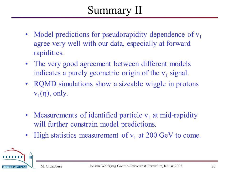 M. Oldenburg Johann Wolfgang Goethe-Universität Frankfurt, Januar 2005 20 Summary II Model predictions for pseudorapidity dependence of v 1 agree very