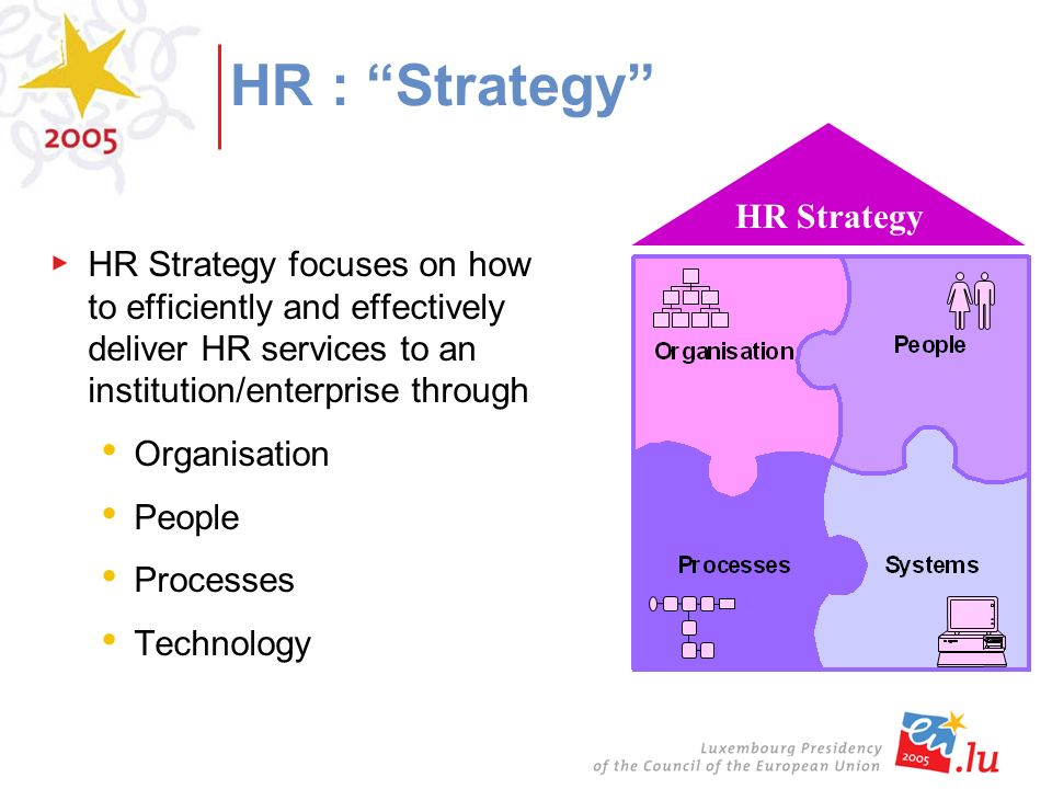 HR Strategy focuses on how to efficiently and effectively deliver HR services to an institution/enterprise through Organisation People Processes Technology HR Strategy HR : Strategy