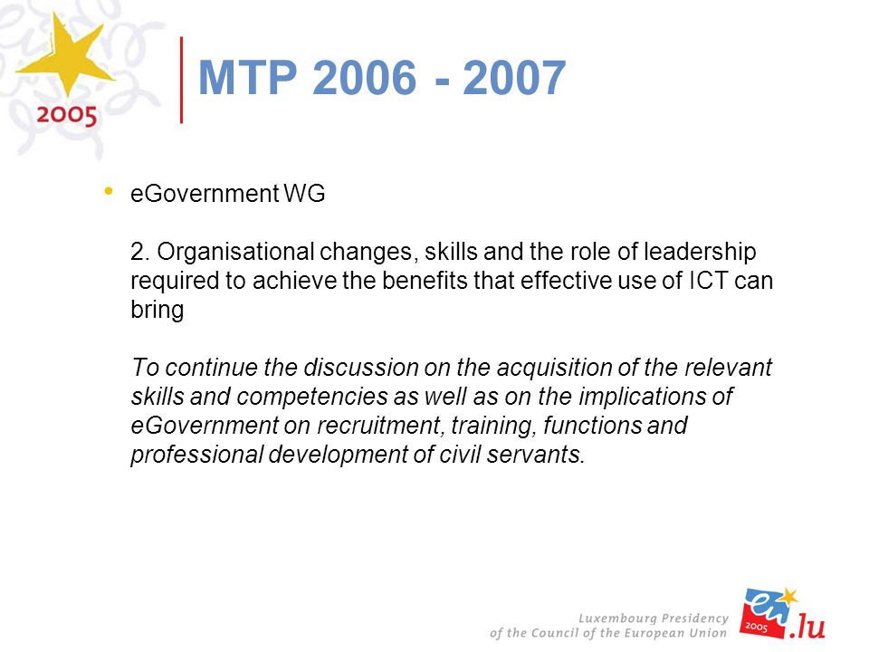 MTP 2006 - 2007 eGovernment WG 2.