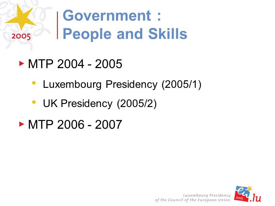 MTP 2004 - 2005 Luxembourg Presidency (2005/1) UK Presidency (2005/2) MTP 2006 - 2007