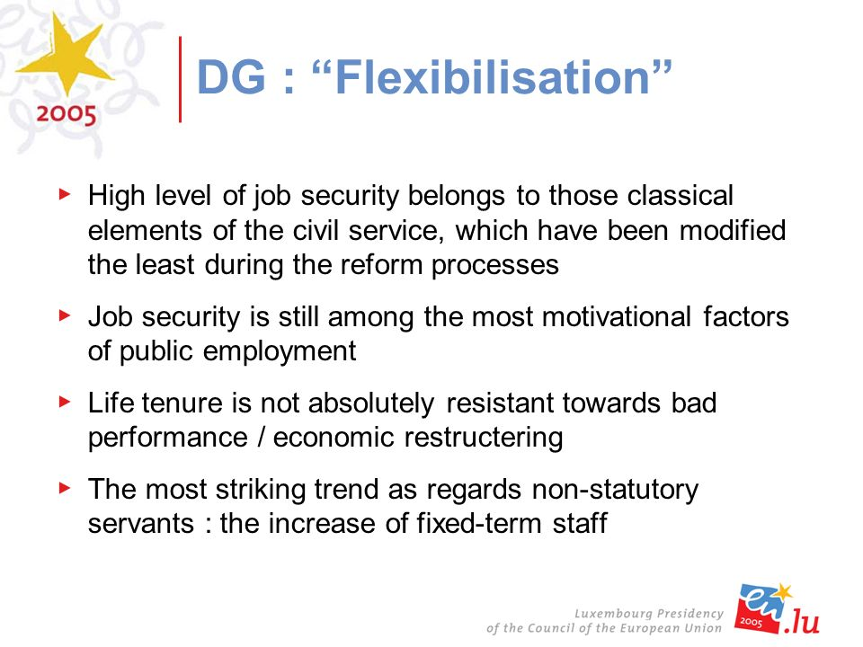 DG : Flexibilisation High level of job security belongs to those classical elements of the civil service, which have been modified the least during the reform processes Job security is still among the most motivational factors of public employment Life tenure is not absolutely resistant towards bad performance / economic restructering The most striking trend as regards non-statutory servants : the increase of fixed-term staff