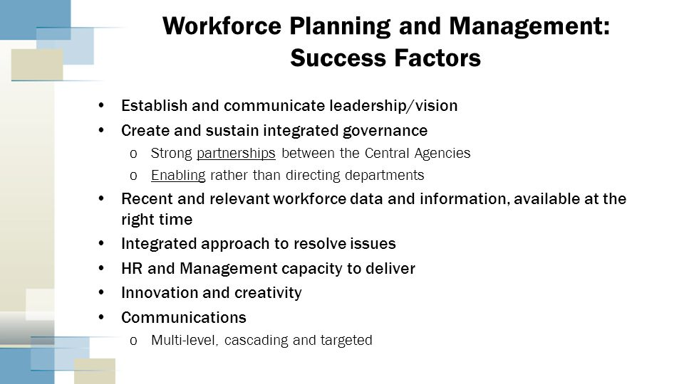 Workforce Planning and Management: Success Factors Establish and communicate leadership/vision Create and sustain integrated governance oStrong partne
