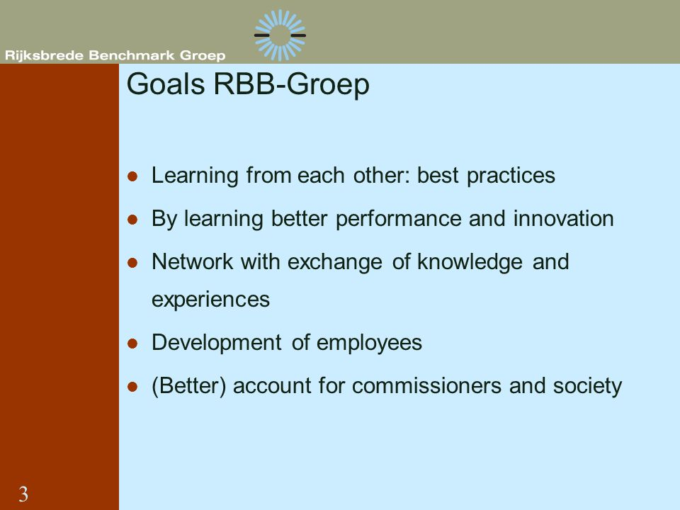 Goals RBB-Groep Learning from each other: best practices By learning better performance and innovation Network with exchange of knowledge and experien