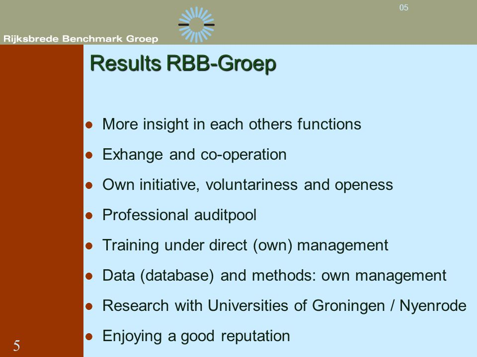 Results RBB-Groep More insight in each others functions Exhange and co-operation Own initiative, voluntariness and openess Professional auditpool Trai