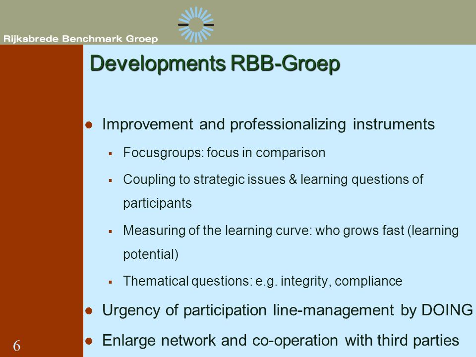 Developments RBB-Groep Improvement and professionalizing instruments Focusgroups: focus in comparison Coupling to strategic issues & learning question