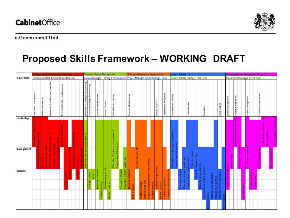 Proposed Skills Framework – WORKING DRAFT e-Government Unit