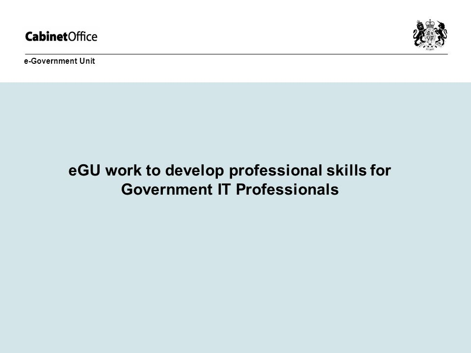 eGU work to develop professional skills for Government IT Professionals e-Government Unit