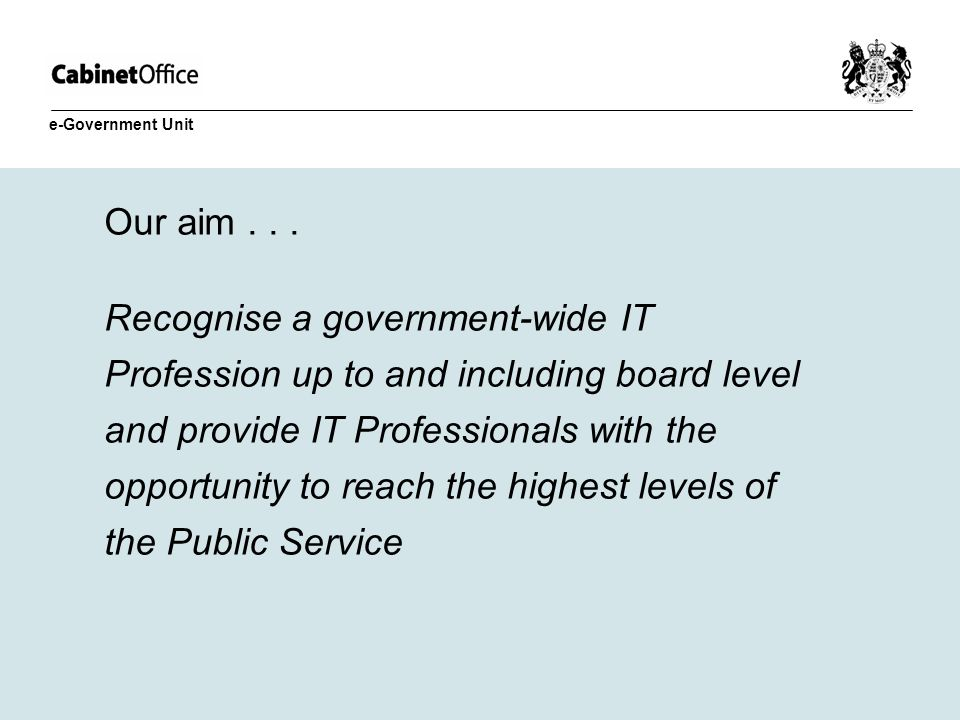 Our aim... Recognise a government-wide IT Profession up to and including board level and provide IT Professionals with the opportunity to reach the hi