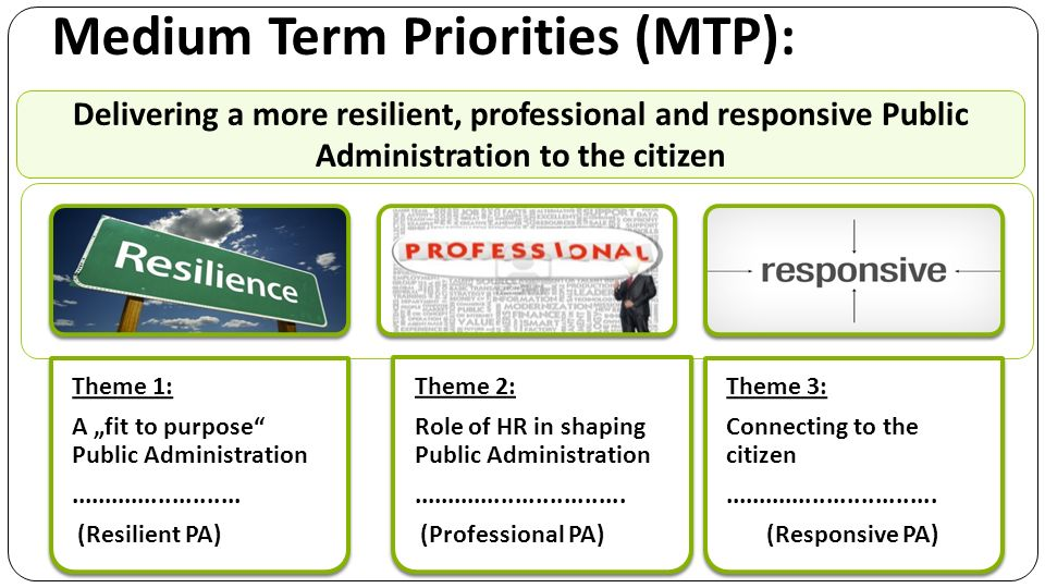 Medium Term Priorities (MTP): Theme 1: A fit to purpose Public Administration.........................