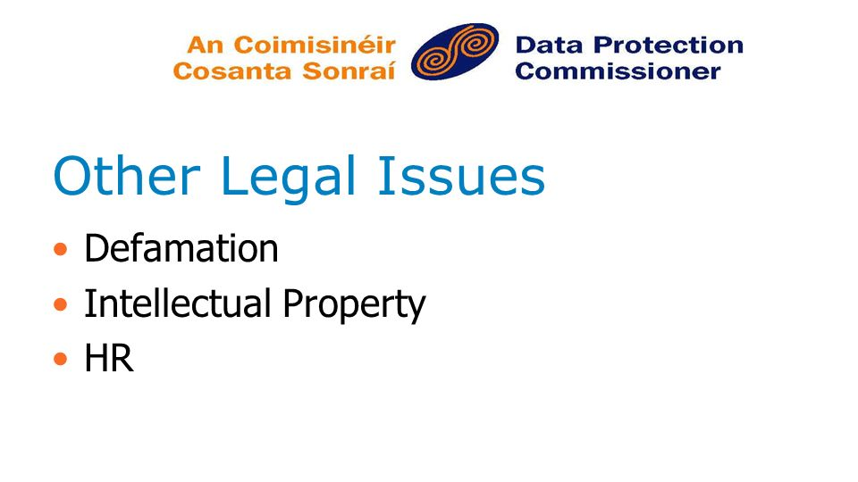 Other Legal Issues Defamation Intellectual Property HR