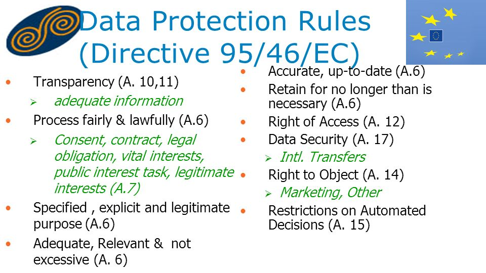 Data Protection Rules (Directive 95/46/EC) Transparency (A. 10,11) adequate information Process fairly & lawfully (A.6) Consent, contract, legal oblig