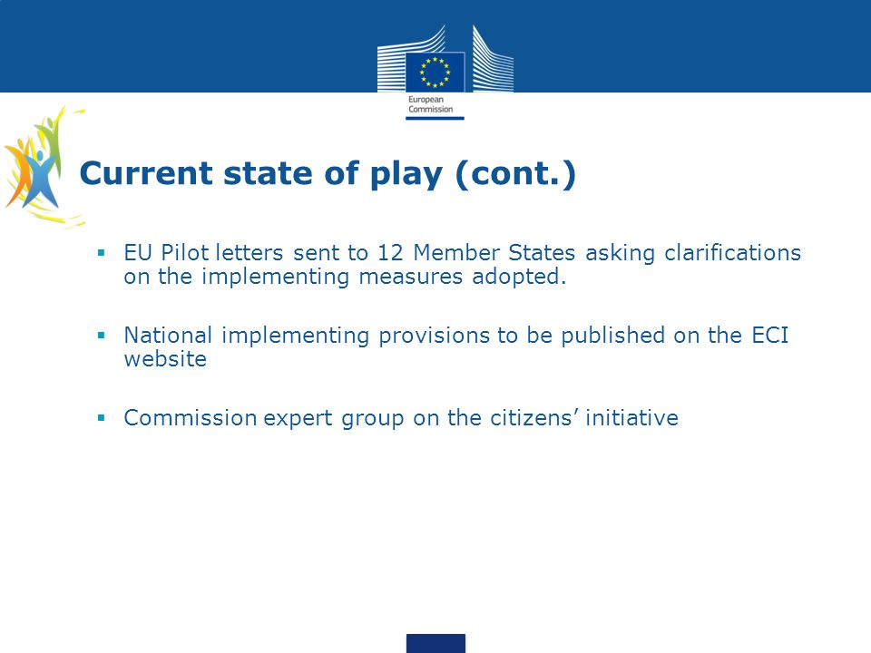 EU Pilot letters sent to 12 Member States asking clarifications on the implementing measures adopted. National implementing provisions to be published