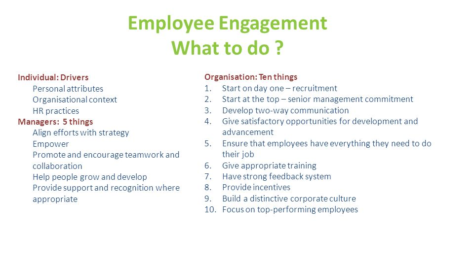 Employee Engagement What to do ? Individual: Drivers Personal attributes Organisational context HR practices Managers: 5 things Align efforts with str