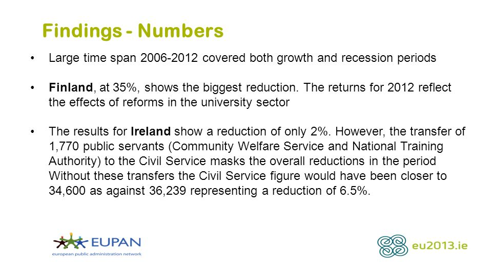 Findings - Numbers Large time span 2006-2012 covered both growth and recession periods Finland, at 35%, shows the biggest reduction.