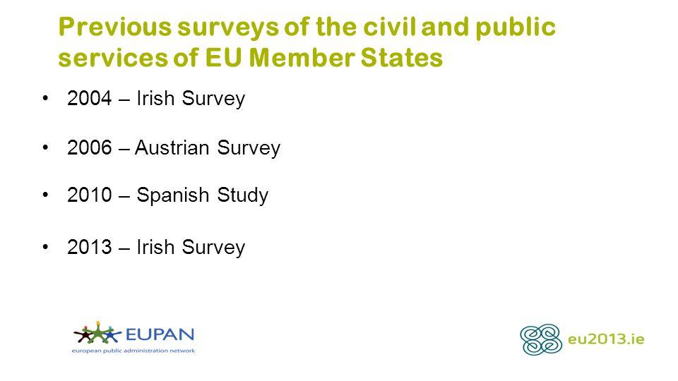 Previous surveys of the civil and public services of EU Member States 2004 – Irish Survey 2006 – Austrian Survey 2010 – Spanish Study 2013 – Irish Sur