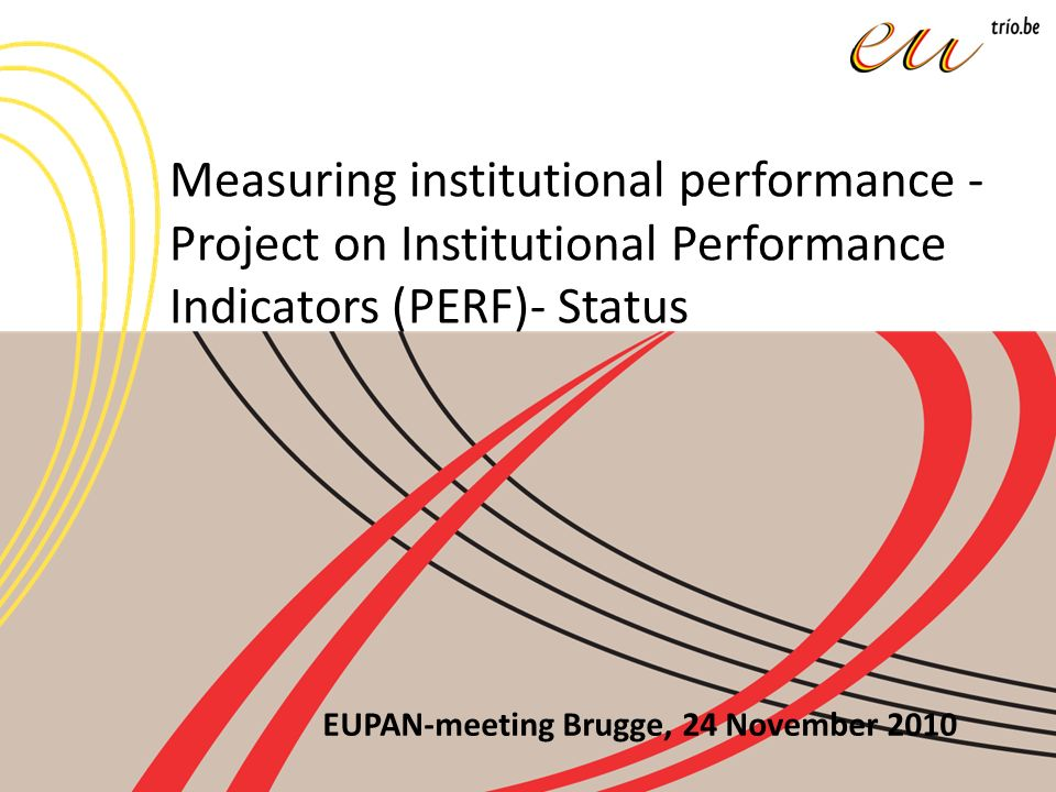 Starting point: to get an insight into performance assessment at institutional level and to identify good practices and innovative solutions For this Presidency, the short term deliverables were to prepare a questionnaire drawing an overall picture of the European performance assessment practices, to identify key processes (KPs) and performance indicators.
