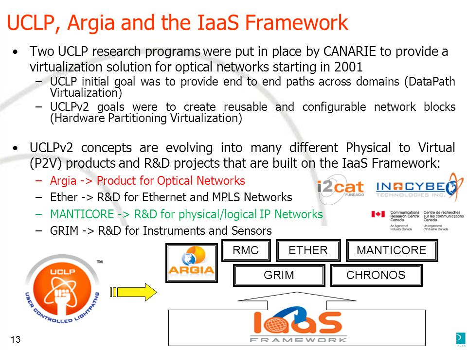 UCLP, Argia and the IaaS Framework Two UCLP research programs were put in place by CANARIE to provide a virtualization solution for optical networks starting in 2001 –UCLP initial goal was to provide end to end paths across domains (DataPath Virtualization) –UCLPv2 goals were to create reusable and configurable network blocks (Hardware Partitioning Virtualization) UCLPv2 concepts are evolving into many different Physical to Virtual (P2V) products and R&D projects that are built on the IaaS Framework: –Argia -> Product for Optical Networks –Ether -> R&D for Ethernet and MPLS Networks –MANTICORE -> R&D for physical/logical IP Networks –GRIM -> R&D for Instruments and Sensors RMCMANTICOREETHER GRIMCHRONOS 13