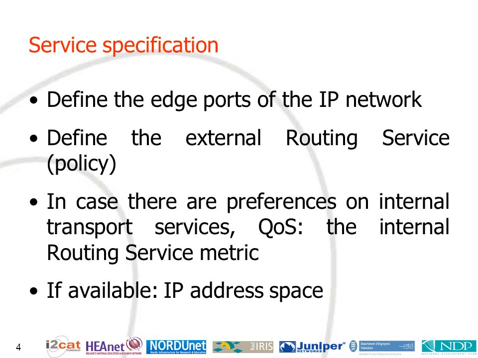 Service specification Define the edge ports of the IP network Define the external Routing Service (policy) In case there are preferences on internal t