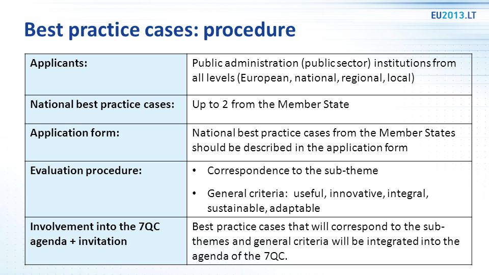 Best practice cases: procedure Applicants:Public administration (public sector) institutions from all levels (European, national, regional, local) Nat