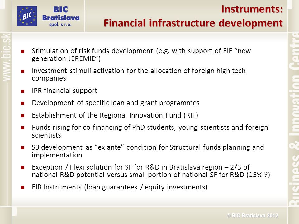 © BIC Bratislava 2012 Instruments: Financial infrastructure development Stimulation of risk funds development (e.g. with support of EIF new generation
