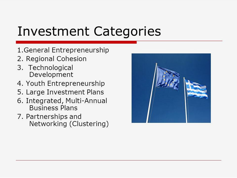 Investment Categories 1.General Entrepreneurship 2. Regional Cohesion 3. Technological Development 4. Youth Entrepreneurship 5. Large Investment Plans