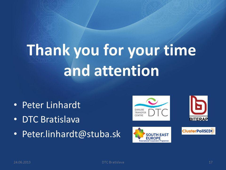 Thank you for your time and attention Peter Linhardt DTC Bratislava Peter.linhardt@stuba.sk 1724.06.2013DTC Bratislava