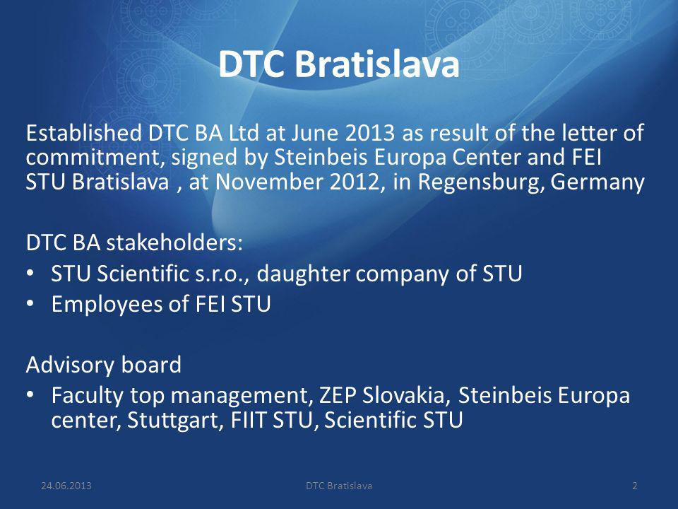DTC Bratislava Established DTC BA Ltd at June 2013 as result of the letter of commitment, signed by Steinbeis Europa Center and FEI STU Bratislava, at