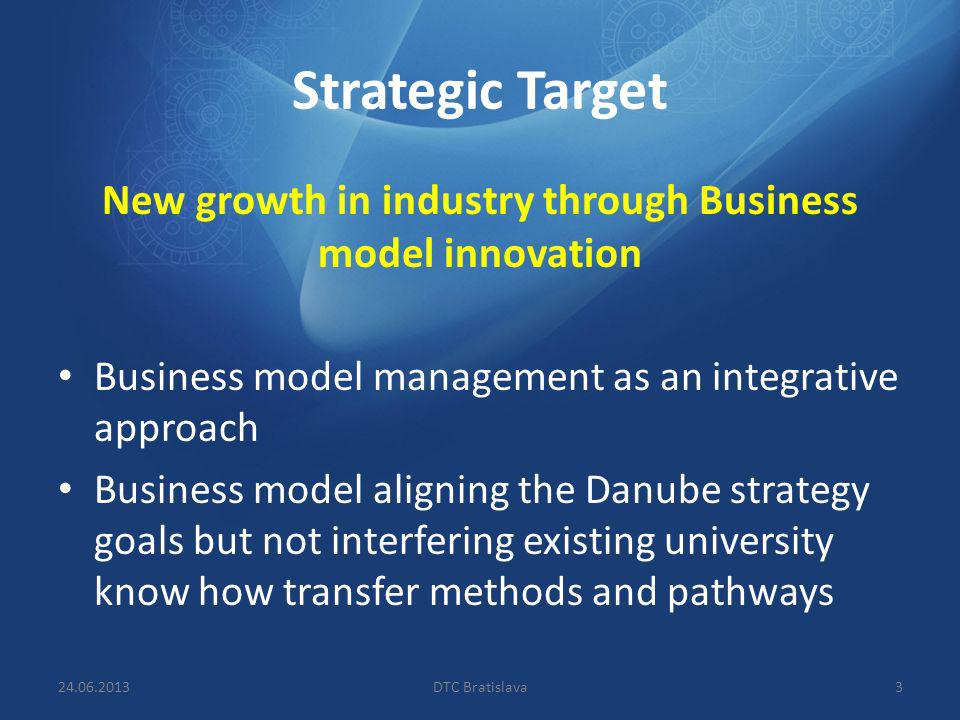 Strategic Target New growth in industry through Business model innovation Business model management as an integrative approach Business model aligning