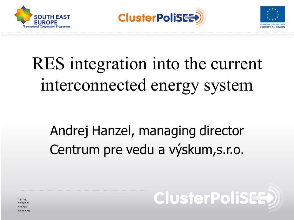 RES integration into the current interconnected energy system Andrej Hanzel, managing director Centrum pre vedu a výskum,s.r.o. name: adress: state: c