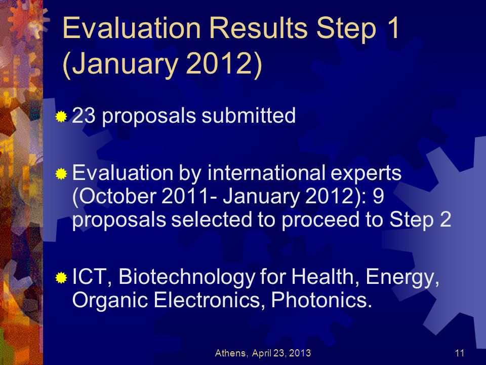 Evaluation Results Step 1 (January 2012) 23 proposals submitted Evaluation by international experts (October 2011- January 2012): 9 proposals selected