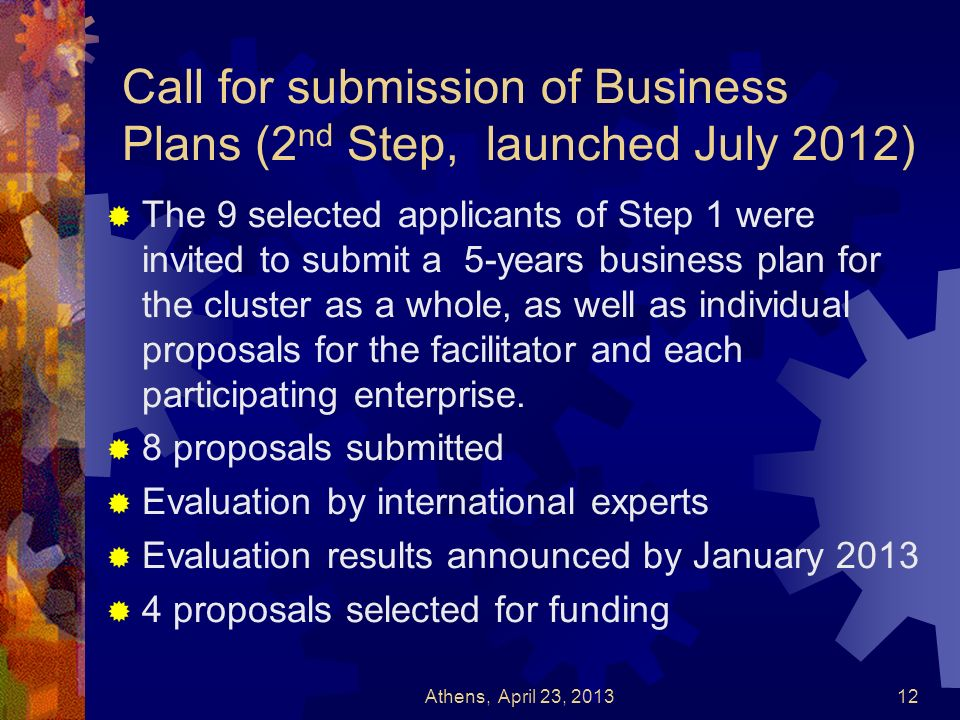 Call for submission of Business Plans (2 nd Step, launched July 2012) The 9 selected applicants of Step 1 were invited to submit a 5-years business pl