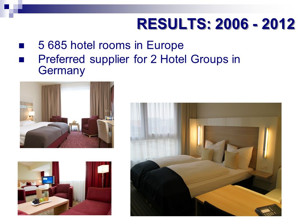 5 685 hotel rooms in Europe Preferred supplier for 2 Hotel Groups in Germany RESULTS: 2006 - 2012