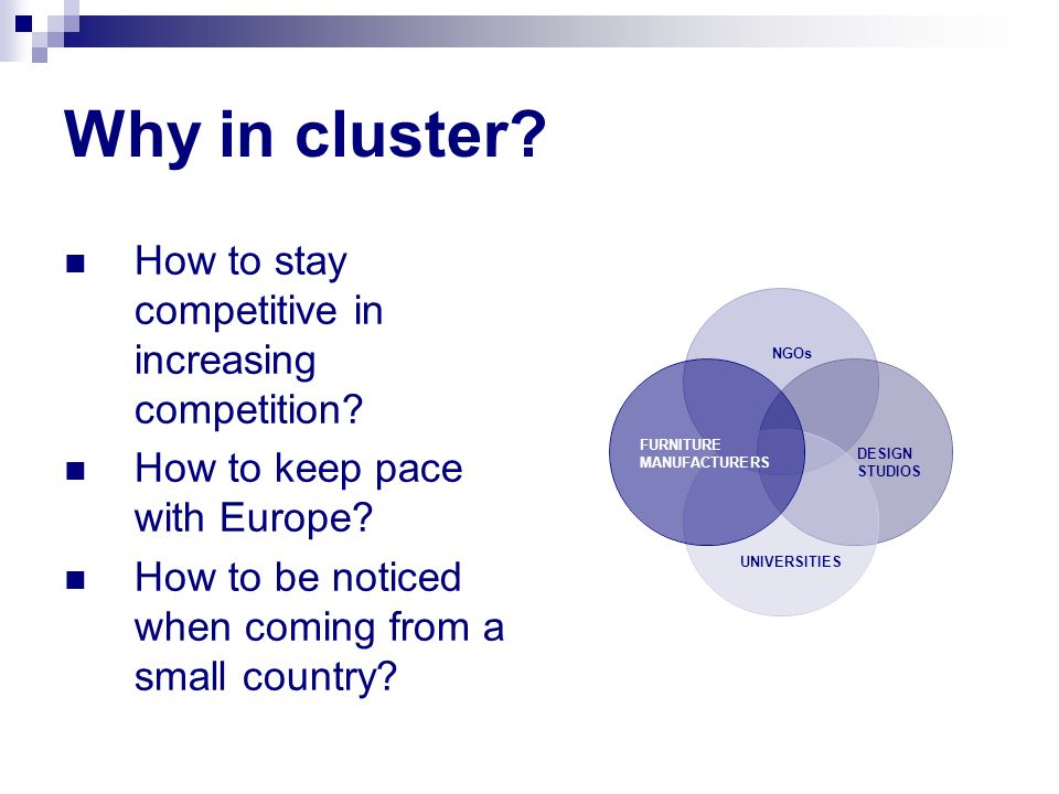 Why in cluster? How to stay competitive in increasing competition? How to keep pace with Europe? How to be noticed when coming from a small country? D