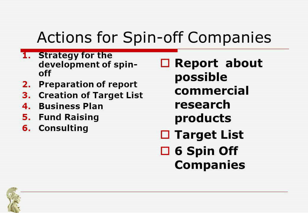 Actions for Spin-off Companies 1.Strategy for the development of spin- off 2.Preparation of report 3.Creation of Target List 4.Business Plan 5.Fund Raising 6.Consulting Report about possible commercial research products Target List 6 Spin Off Companies