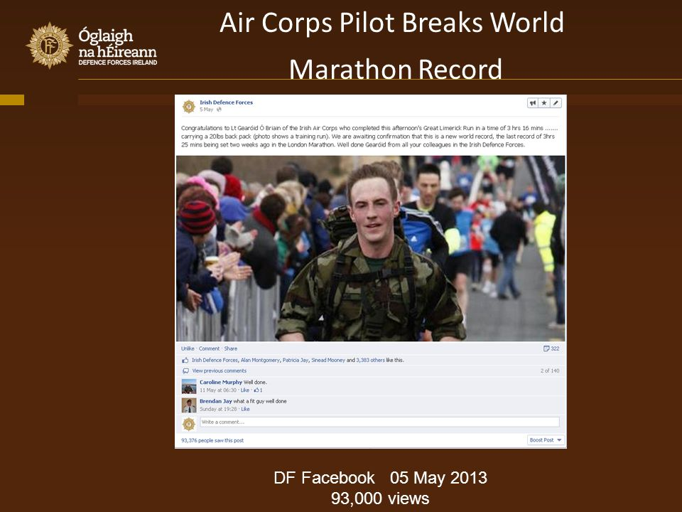 Air Corps Pilot Breaks World Marathon Record DF Facebook 05 May 2013 93,000 views