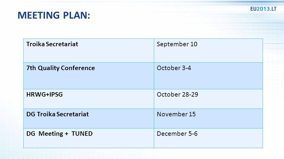 Troika SecretariatSeptember 10 7th Quality ConferenceOctober 3-4 HRWG+IPSGOctober 28-29 DG Troika SecretariatNovember 15 DG Meeting + TUNEDDecember 5-6 MEETING PLAN: