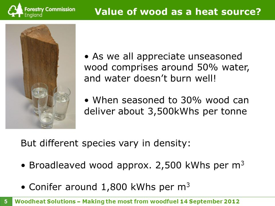 Woodheat Solutions – Making the most from woodfuel 14 September 2012 5 Value of wood as a heat source.