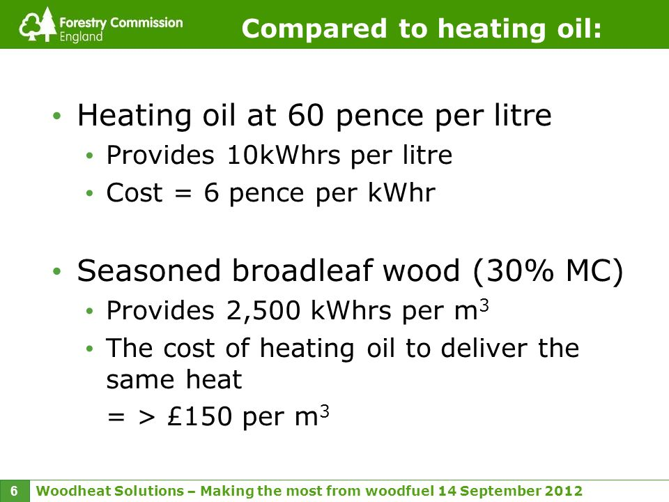 Woodheat Solutions – Making the most from woodfuel 14 September 2012 6 Compared to heating oil: Heating oil at 60 pence per litre Provides 10kWhrs per litre Cost = 6 pence per kWhr Seasoned broadleaf wood (30% MC) Provides 2,500 kWhrs per m 3 The cost of heating oil to deliver the same heat = > £150 per m 3