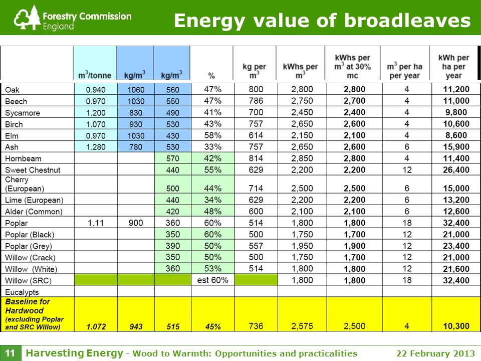 Harvesting Energy - Wood to Warmth: Opportunities and practicalities 22 February 2013 11 Energy value of broadleaves